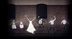 Brick photography - Wedding Photo Shoot with bridal party against a brick wall background Wedding Centerpieces Mason Jars, Wedding Decorations, Wedding Photo Walls, Brick Wall Background, Wedding Day, Trendy Wedding, Wedding Photoshoot, Wedding Photography, Photo Shoot