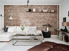 Love the brick wall! Living Room Decor, Living Spaces, Brick Interior, Gravity Home, Loft Interiors, Scandinavian Interior Design, Dream House Exterior, Exposed Brick, Home Decor Furniture