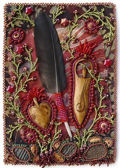 """""""Respect"""" by Robin Atkins. Bead Journal Project for October Bead embroidery, visual journaling with beads, one page per month for one year. Appears in the book """"Heart to Hands Bead Embroidery"""" by Atkins. Art Journaling, Art Du Fil, Fabric Journals, Handmade Books, Handmade Art, Schmuck Design, Journal Covers, Journal 3, Art Journal Inspiration"""