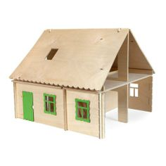 Collapsible dollhouse in country style, with two ladders. There is a possibility of decorating the house with paint. You can buy furniture and farm scenery that make up the whole. Made by Neo-Spiro.