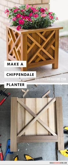 Build a cedar chippendale planter for your front porch. This step-by-step tutorial also has a link to printable plans with a cut list. Small Wood Projects, Diy Furniture Projects, Woodworking Projects Diy, Diy Pallet Projects, Handmade Furniture, Metal Projects, Garden Projects, Furniture Design, Front Porch