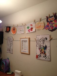 Clothes line- quick and easy way to display children's art work