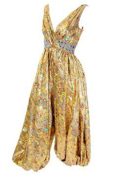 1960s Gold Metallic Harem Vintage Jumpsuit Jeweled Waist 6/8 | 1stdibs.com