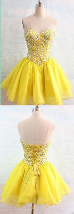 New Arrival Tulle Prom Dress,Yellow Prom Gown,Short Homecoming