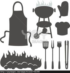 A set of barbeque silhouette icons isolated on white background.