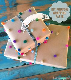 DIY pompom wrapping paper