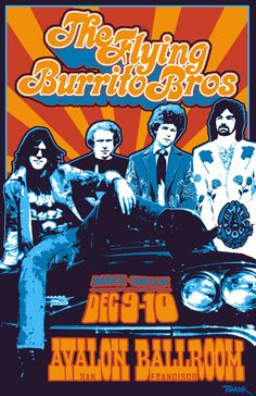 ☮ American Hippie Music Art ~ The Flying Burrito Brothers - Avalon Ballroom 1969 Tour Posters, Band Posters, Music Posters, Vintage Rock, Vintage Music, Flying Burrito Brothers, Hippie Posters, Psychedelic Music, Psychedelic Posters