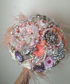 Pastel Pink Peach Feather Broach Bouquet. by NatalieKlestov
