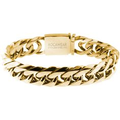 Men's Casting Curb Link Bracelet in Stainless Steel by Rocawear ($13) ❤ liked on Polyvore featuring men's fashion, men's jewelry, men's bracelets, gold, jewelry & watches, mens curb chain, mens bracelets, mens watches jewelry and mens stainless steel bracelets