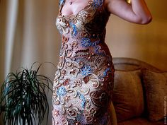 """Купить платье вязанное крючком """" Очарование Азии """" - пейсли, авторское платье"""