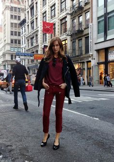 #cropped #oxblood AND #monochrome ? We must be dreaming.