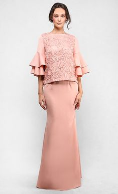 The Lace Kedah Kurung with Tiered Sleeves in Coral