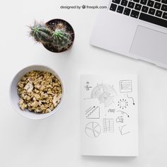 Book cover template with cereals and laptop Free Psd