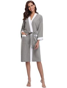 bbed02fbd8 Shop Unisex Waffle Bathrobe Cotton Lightweight Nightgowns Sleepwear Spa Robe  - Grey-white - and Discover a Huge Selection of Women s Sleepwear at  Affordable ...