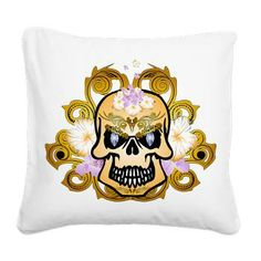 Fantasytic skull Square Canvas Pillow by nicky - CafePress Square Canvas, Pillow Design, Skulls, Pillows, Prints, Color, Colour, Cushions, Pillow Forms