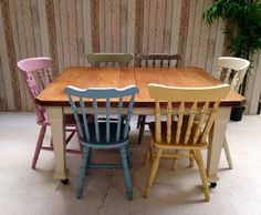 Shabby Chic Victorian Oak Dining Table Six Mis Matched Vintage Chairs