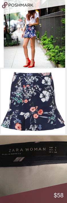 """Zara Blue Floral Ruffle Skirt Sold out in stores - this skirt is a fav of style bloggers. Blue floral ruffle skirt by Zara. 88% polyester 12% elastine. Side zip. Length: 16"""" Waist: approx. 27"""" Size Small. NWOT. Zara Skirts Mini"""