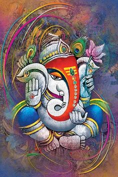 CraftJunction Wooden Lord Ganesha Art Print Design Without Frame Matt textured UV Canvas Inches) at GlowRoad - Lord Ganesha Paintings, Ganesha Art, Krishna Painting, Krishna Art, Shiva Art, Shri Ganesh Images, Ganesha Pictures, Indian Art Paintings, Watercolor Paintings Abstract