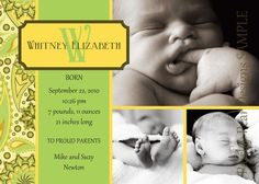 Three Picture Custom Birth Annoucement by PaisleyPearInvites, $1.50