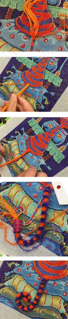 It's not your Grandmother's Needlepoint Attach several lengths of perle cotton / memory thread to canvas. Anchor wrapping thread under tail. Keep all thread on front of canvas; sink thread tails enough to secure. Now wrap! Don't cut thread from cards, just start moving cards around cords wrapping stripes down length of tail. Repeat with second color. Once wrapping is complete, sink ends of cords etc at tip of cat's tail. Tack in place and secure everything on reverse.