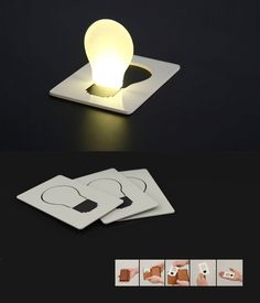 This is a design by Ryan Harc. It consists of one of the most compact sources of light. It is like a torch, it provides light, but its flat enough to fit in a wallet. It is handy as provides a soft light, enough to lit up a tent. Perfect for adventurers who cannot carry too much wight.