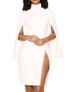 UONBOX Women's High Neck Split Crepe Dress with Cape Sleeves  http://stylexotic.com/uonbox-womens-high-neck-split-crepe-dress-with-cape-sleeves/