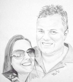 A pencil portrait of my cousin Caroline and her husband. Drawing the sunglasses took almost as long as the rest of the drawing haha! Sooo difficult to draw reflections because they don't register as any particular object and just become shapes. Hard to explain what I mean, but tricky haha! :D