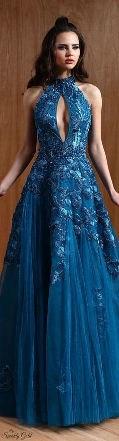 Antonios Couture S/S 2015 jαɢlαdy Stunning Dresses, Beautiful Gowns, Pretty Dresses, Beautiful Outfits, Blue Dresses, Prom Dresses, Fabulous Dresses, Evening Dresses For Weddings, Evening Gowns