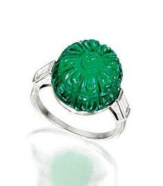 sothebys art deco rings | EXQUISITE ART DECO EMERALD AND DIAMOND RING, CIRCA 1925, CARTIER ...