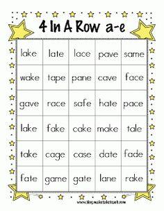 Classroom Freebies Too: Magic e 4-In-A-Row