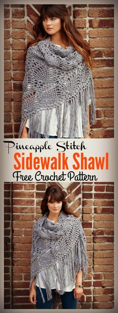 Crochet Blusas Patterns Pineapple Stitch Sidewalk Shawl Free Crochet Pattern and Video Tutorial - The Pineapple Stitch Sidewalk Shawl Free Crochet Pattern shows you how to crochet this beautiful shawl. It also comes with a full step by step video. Crochet Shawl Free, Gilet Crochet, Crochet Shawls And Wraps, Knitted Shawls, Crochet Scarves, Crochet Clothes, Crochet Stitches, Crochet Hats, Shawl Patterns