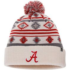 Alabama Crimson Tide Top of the World Women's Aztech Cuffed Pom Knit Hat - Cream