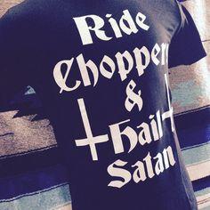 Ride Choppers & Hail Satan shirts from KILLSCUMSPEEDCULT.COM tags; harley, davidson, chopper, bobber, rat, bike, rod, fink, upside, down, cross, satan, lucifer, devil, worship, occult, crowley, honda, cb, cafe, racer, skinhead, yamaha, tank, frisco, peanut, custom
