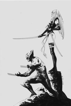 Wolverine and Psylocke by Jae Lee