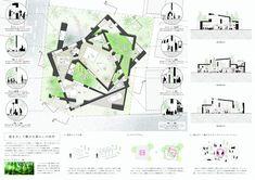 プレゼンボード_ver7-01 Architecture Concept Drawings, Architecture Board, Architecture Design, Architecture Presentation Board, Presentation Design, Architectural Design Studio, Japanese House, Japanese Design, Layout Design