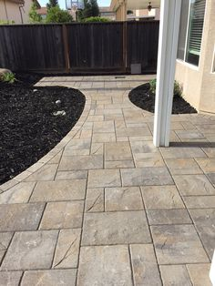 Photo of Pavers Made Possible - Sacramento, CA, United States. Laffit Rustic Slab in Victorian color Outdoor Patio Pavers, Pool Pavers, Patio Steps, Backyard Plan, Backyard Patio, Backyard Landscaping, Belgard Pavers, Concrete Patio Designs, Garden Paving