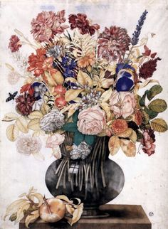 Giovanna Garzoni - Vase with Flowers, a Peach and a Butterfly