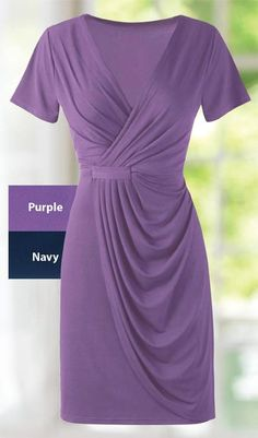 Wear this little navy dress to the office or glam it up. Pullover style in easy-care in polyester/spandex knit with faux wrap. Elegant White Dress, Elegant Midi Dresses, Modest Dresses, Nice Dresses, 1940s Fashion Dresses, Fashion Outfits, Pretty Outfits, Cool Outfits, Stylish Scrubs