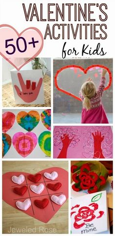 Over 50 FUN valentines activities for kids- arts and crafts, games, play recipes, yummy treats, and MORE! {From Growing a Jeweled Rose} day treats classroom day treats easy day treats ideas day treats kids day treats school Valentine Crafts For Kids, Valentines Day Activities, Holiday Crafts, Holiday Fun, Valentine Ideas, Valentine Theme, Valentine Day Love, Valentines Day Party, Valentine Games
