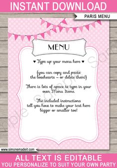 Printable Paris Birthday Party Menu Template | Paris Theme Decorations | INSTANT DOWNLOAD with Editable Text via simonemadeit.com Birthday Party Menu, Paris Birthday Parties, Paris Party, Paris Theme, Printable Menu, Party Printables, Menu Template, Templates, Cupcake Invitations
