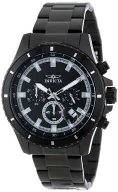 Invicta Men's 12458 Pro Diver Chronograph Black Dial Black Ion-Plated Stainless Steel Watch