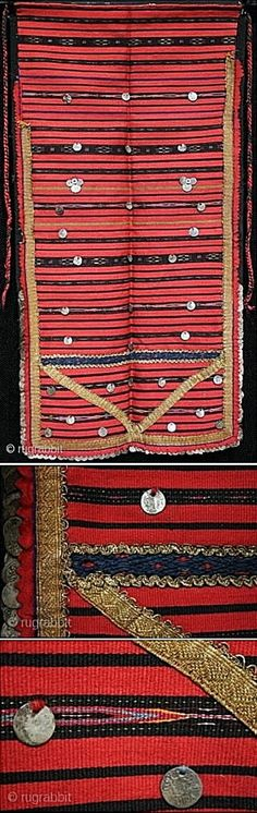 A late 19th c. Bulgarian apron, from the Vratsa region.  With over 160 Ottoman silver coins stitched along the side, the bottom edges and the front.   Finely woven flat weave with metallic thread;  adorned with gold brocade ribbons & plaited tied chords.