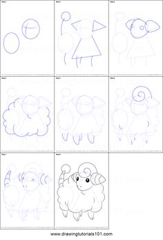 How to Draw Mareep from Pokemon printable step by step drawing sheet : DrawingTutorials101.com