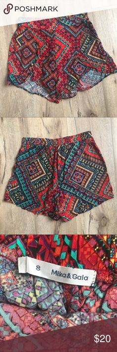 LF Mika & Gala Red Aztec Shorts Worn once, Mika & Gala tag is falling off. LF Shorts