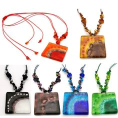 Square Glass Pendant with Beads- Assorted