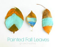 Painted fall leaves tutorial using mod podge by Grow Creative. Also shown is how to turn these into a garland.