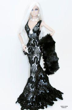 Black Lace Shimmery Fashion  for Fashion Royalty and Silkstone Barbie. $100.00, via Etsy.