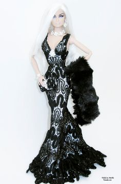 Black Lace Shimmery Fashion  for Fashion Royalty and by Famaka, $100.00