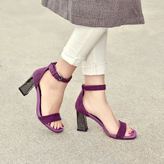 2017 Concise Sheep Suede Sandals Women Sequined High Heels Ankle Strap Spring Summer Dress Shoes Woman Ladies Open Toe Sandals
