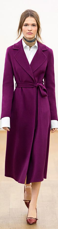 Escada Fall 2015 Ready-to-Wear. Women clothing. Violet coat.